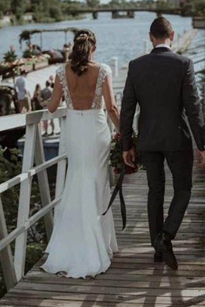 Cap Sleeve Open Back Lace Sheath Wedding Dress_3