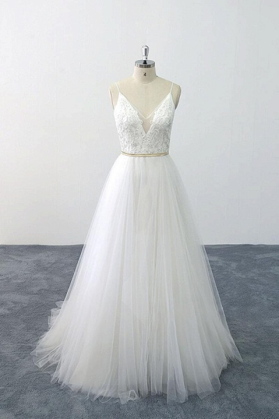 Chic Spaghetti Strap Appliques Tulle Wedding Dress_1