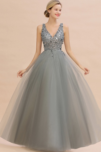 Fabulous V-neck Tulle A-line Prom Dress_9