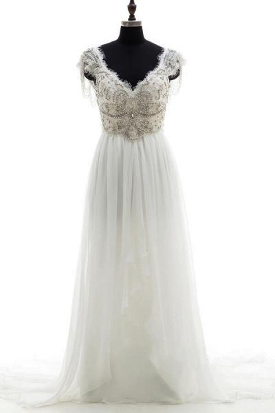 Amazing V-neck Beading Chiffon A-line Wedding Dress_1