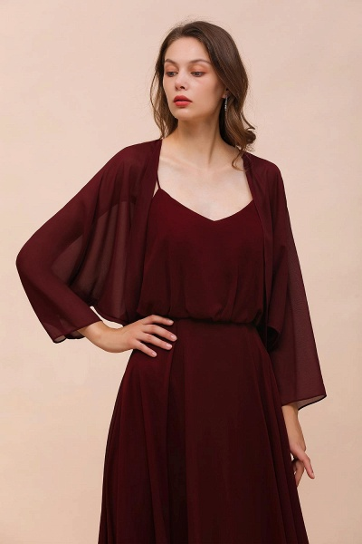 BM1087 Chiffon Burgundy Long Special Occasions Wrap_1