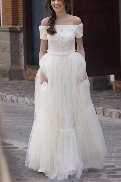 Off Shoulder Lace Tulle A-line Wedding Dress_1