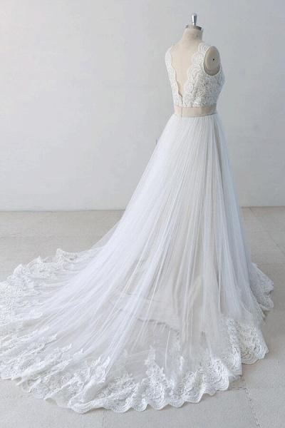 Elegant V-neck Lace Tulle A-line Wedding Dress_4