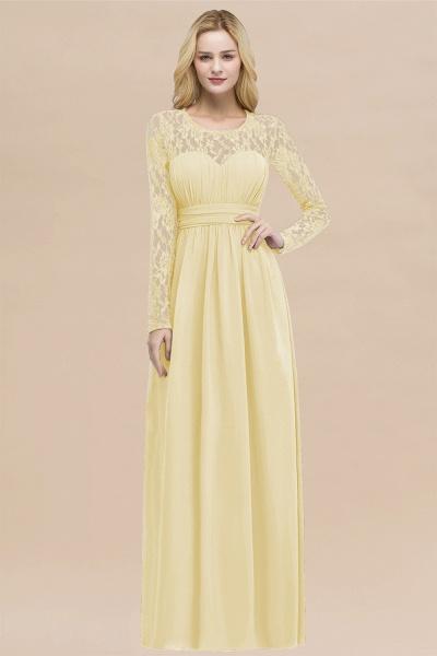 Elegant A-Line Chiffon Jewel Long Sleeves Ruffles Floor-Length Bridesmaid Dresses_18