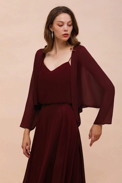 BM1088 Burgundy Long Sleeves Chiffon Special Occasions Wrap_6