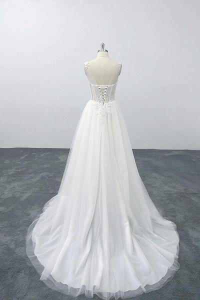 Lace-up V-neck Appliques Tulle A-line Wedding Dress_3