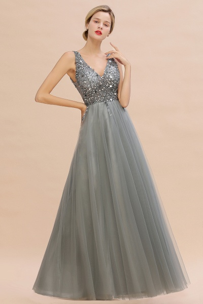 Fabulous V-neck Tulle A-line Prom Dress_12