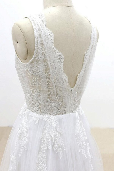 Ruffle V-neck Appliques Tulle A-line Wedding Dress_7