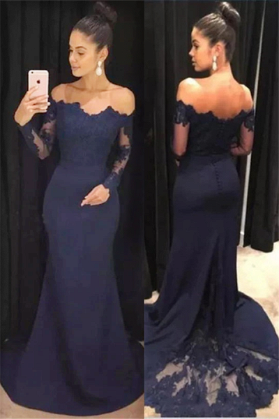 Classic Mermaid Off-the-shoulder Long Sleeves Prom Dresses with Lace