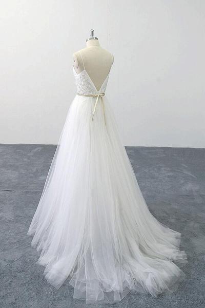 Chic Spaghetti Strap Appliques Tulle Wedding Dress_6