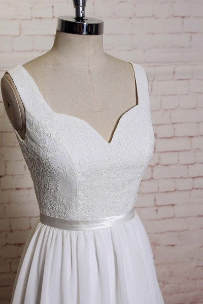 Square Neck Lace Chiffon A-line Wedding Dress_4