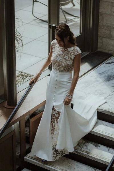Cap Sleeve Open Back Lace Sheath Wedding Dress_4