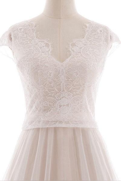 Graceful V-neck Lace Tulle A-line Wedding Dress_6