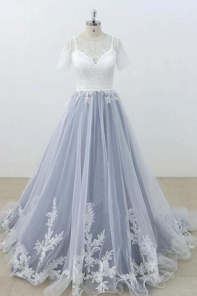 Short Sleeve Appliques Tulle A-line Wedding Dress_1