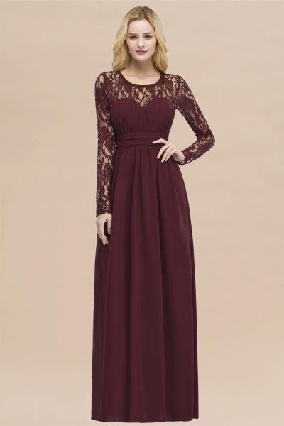 Elegant A-Line Chiffon Jewel Long Sleeves Ruffles Floor-Length Bridesmaid Dresses_10