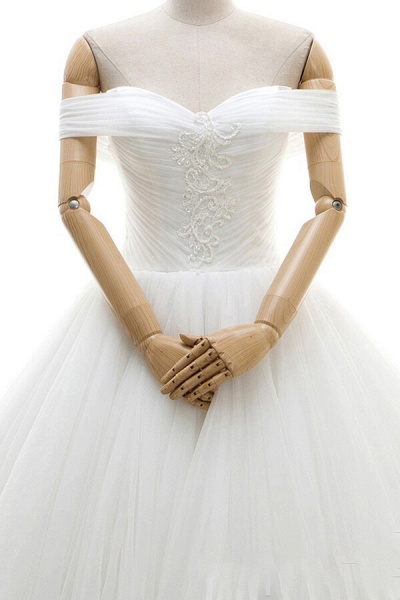 Lace-up Off Shoulder Ruffle Tulle Wedding Dress_5