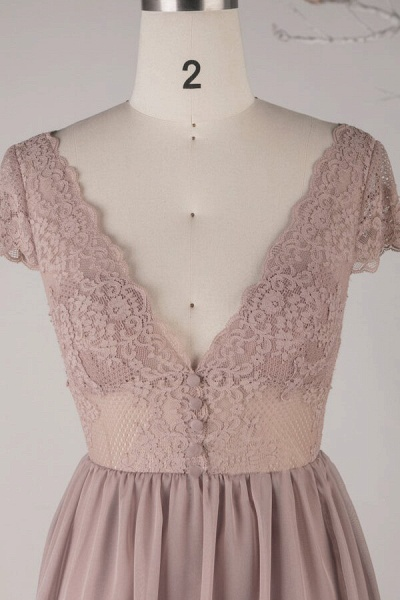 Cap Sleeve V-neck Lace Chiffon A-line Wedding Dress_3