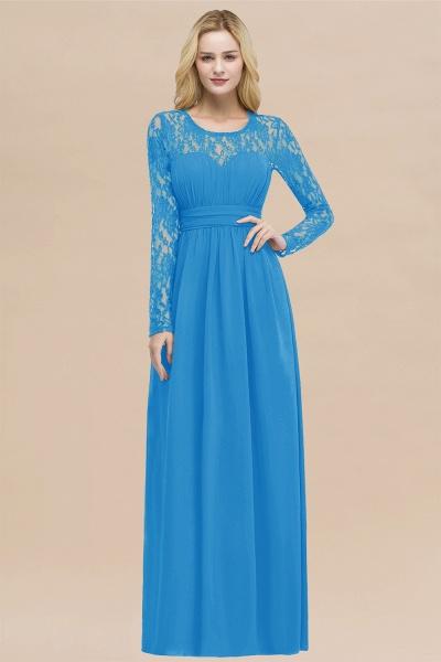 Elegant A-Line Chiffon Jewel Long Sleeves Ruffles Floor-Length Bridesmaid Dresses_25