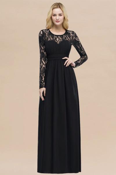 Elegant A-Line Chiffon Jewel Long Sleeves Ruffles Floor-Length Bridesmaid Dresses_29