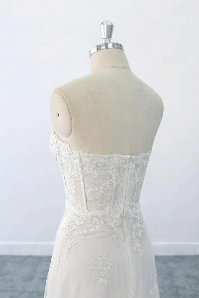 Appliques Strapless Tulle Sheath Wedding Dress_5