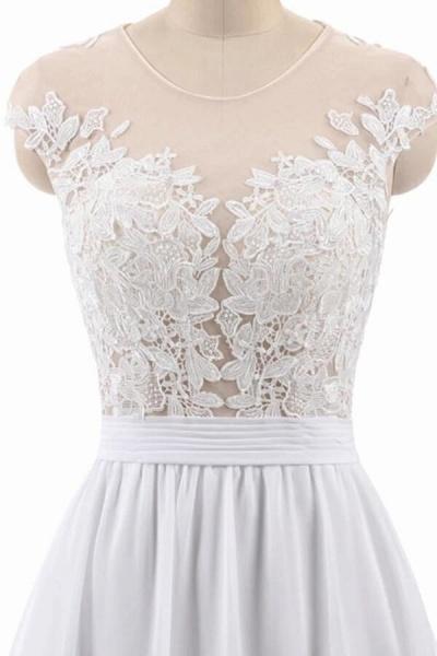 Cap Sleeve Appliques Chiffon A-line Wedding Dress_3