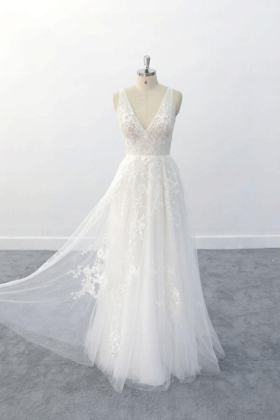 Elegant V-neck Appliques Tulle A-line Wedding Dress_5