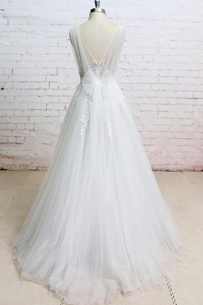 Appliques Tulle Ruffle A-line Wedding Dress_3