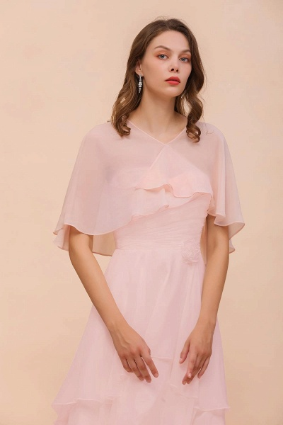 BM1086 Pink Ruffle Chiffon Special Occasions Wraps_8