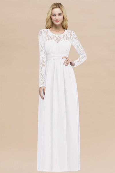 Elegant A-Line Chiffon Jewel Long Sleeves Ruffles Floor-Length Bridesmaid Dresses_1