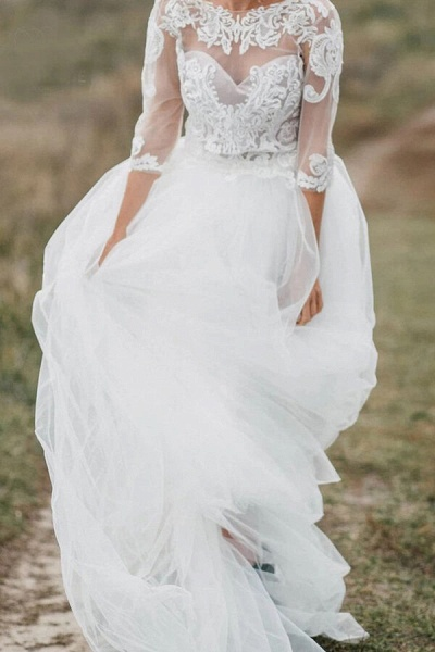 Graceful Illusion Tulle A-line Wedding Dress_3