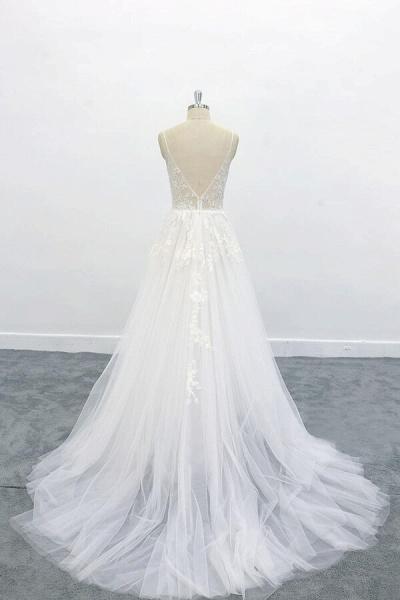 Graceful Appliques Tulle A-line Wedding Dress_3