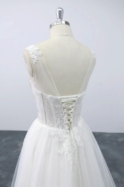 Lace-up V-neck Appliques Tulle A-line Wedding Dress_7