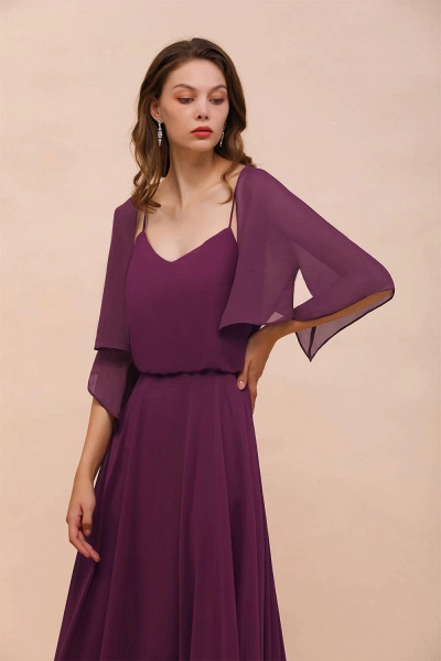BM1089 3/4 Sleeves Grape Chiffon Special Occasions Wrap_8