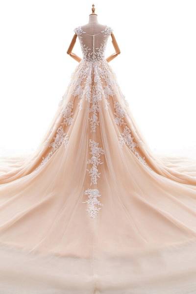 Applique Tulle Cathedral Train A-line Wedding Dress_3