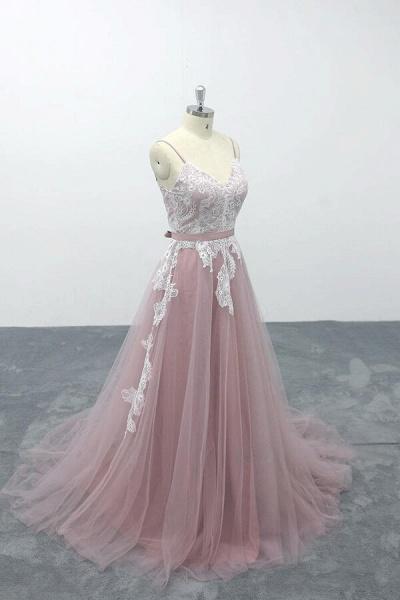 Lace Tulle Spaghetti Strap A-line Wedding Dress_4