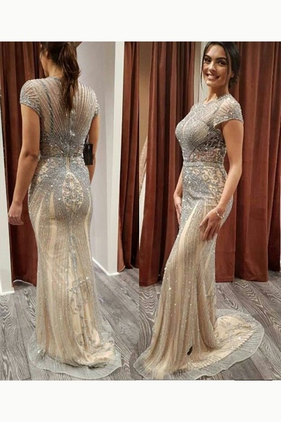 Wonderful Jewel Satin Mermaid Prom Dress_16