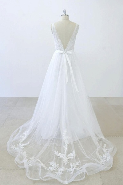 V-neck Ruffle Applqiues Tulle A-line Wedding Dress_3