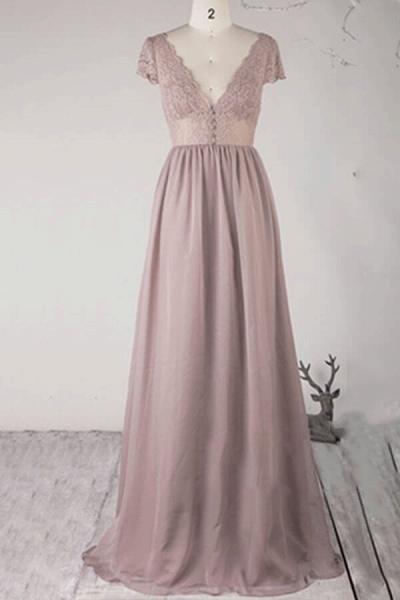 Cap Sleeve V-neck Lace Chiffon A-line Wedding Dress_2