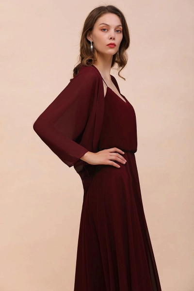 BM1088 Burgundy Long Sleeves Chiffon Special Occasions Wrap_8