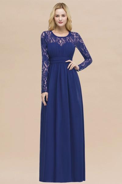 Elegant A-Line Chiffon Jewel Long Sleeves Ruffles Floor-Length Bridesmaid Dresses_26