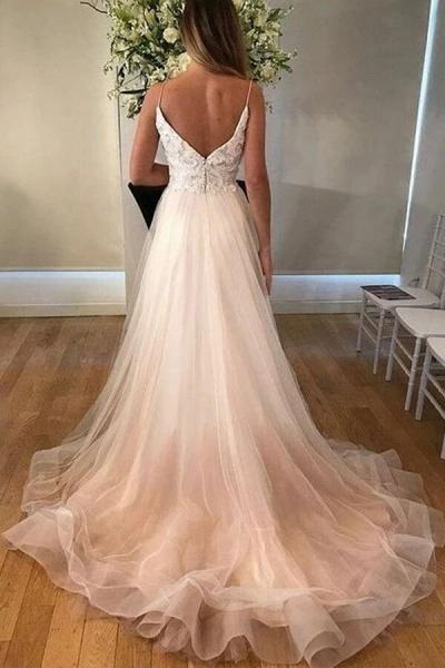 Applique Spaghetti Strap Tulle A-line Wedding Dress_3