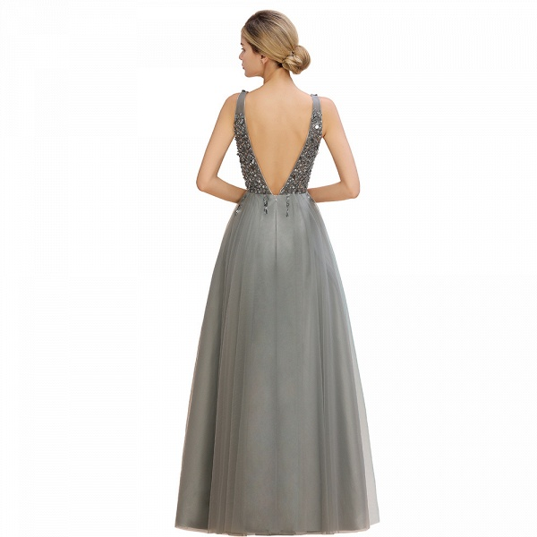Fabulous V-neck Tulle A-line Prom Dress_17