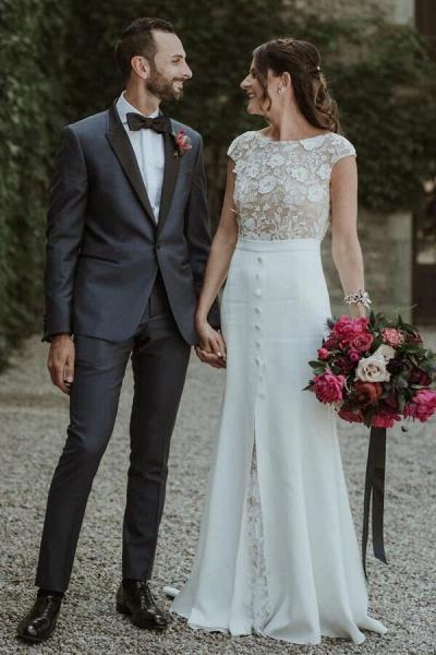 Cap Sleeve Open Back Lace Sheath Wedding Dress_1