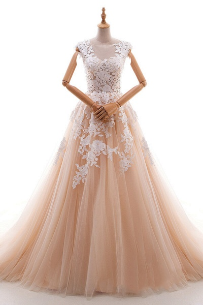 Applique Tulle Cathedral Train A-line Wedding Dress_1