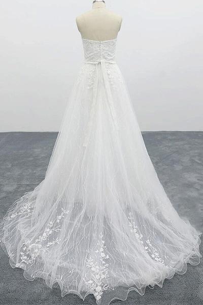 Strapless Tulle Chapel Train A-line Wedding Dress_3