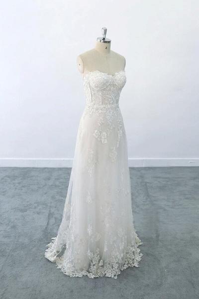 Appliques Strapless Tulle Sheath Wedding Dress_2
