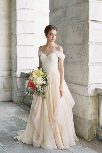 Ruffle Chiffon A-line Off Shoulder Wedding Dress_1