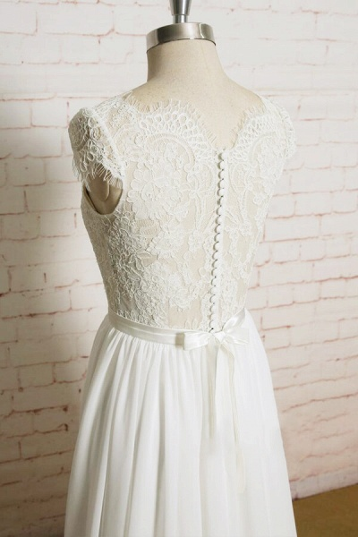 Lace Chiffon A-line Court Train Wedding Dress_5
