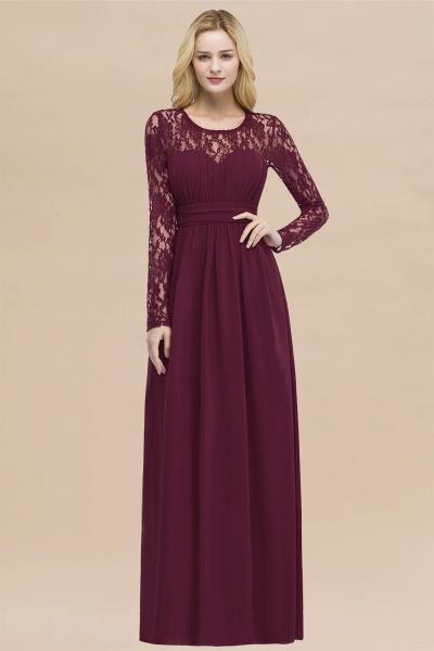 Elegant A-Line Chiffon Jewel Long Sleeves Ruffles Floor-Length Bridesmaid Dresses_44