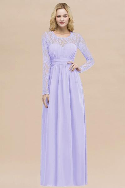 Elegant A-Line Chiffon Jewel Long Sleeves Ruffles Floor-Length Bridesmaid Dresses_21